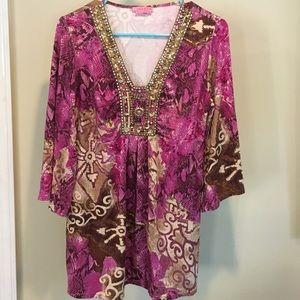 Joyous and Free Pink and Gold Tunic